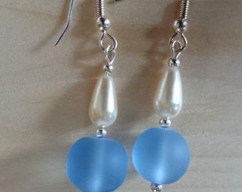 Blue Bead drop earring  #74