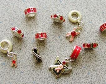 10 Ribbon AWARENESS european charm style beads for bracelets necklaces destash hope pink red angel crystal metal silver