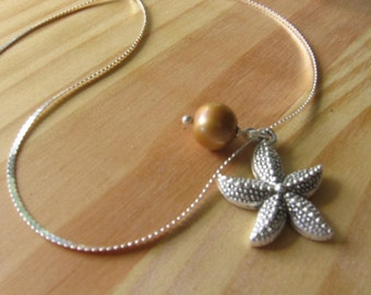 Tibetan Silver Starfish with Single Pearl Necklace