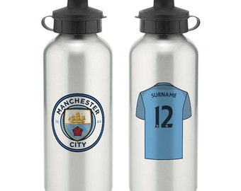 Personalised Manchester City Football Club Aluminium Bottle - Silver or White