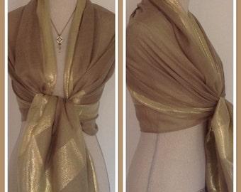 Taupe Gold Lurex Sheen Stripe Pashmina Shawl Wrap Scarf Weddings, Proms Gift Idea Extra Long/Extra Wide
