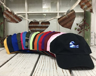 WAVE Emoji Embroidered Dad Hat Baseball Cap Low Profile Curved Bill - Multiple Colors