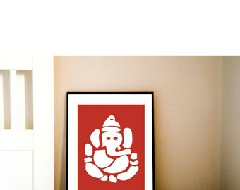 Hindu God Ganesh Fine art print - ganesh silhouette, red color, hindu god, elephant god, worship