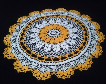 Crochet doily - Round doilies - Medium doily - White doily - Yellow doily - Home decor - Crochet doilies