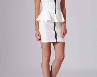 White Bandeau Zip Front Peplum Dress With Floral Knit Texture Fabric Pattern And Padded Bust - Beautiful As A Basic Wedding Or Party Dress