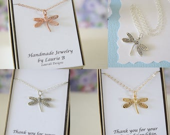Dragonfly Necklace, Dragonfly Sterling Silver, Gold Dragonfly, Two Best Friends, BFF, Dragonfly, Silver Dragonfly, Rose Gold Dragonfly