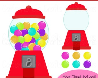 Gumball Machines & Gumballs Clipart Set - 7 Different Gumball Machine Colors - Red, Orange, Yellow, Green, Blue, Purple, Pink
