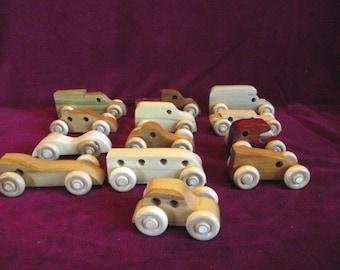 Hardwood Mini-vehicles, 10 Assorted Shapes and Woods
