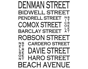 West End Vancouver B.C. - Love This Place Street Name Art Print on Paper - Customize With Your Street - Home Decor TheJitterbugShop
