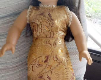 """Gold  Gown of Sari Silk fits the 18"""" Young Girl Doll.  Sleeveless Dress, Lace Trim -  A """"Play With Me"""" Creation"""