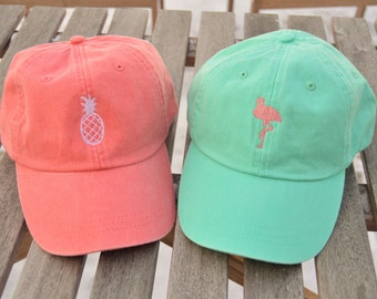 Monogrammed hat, Pink Flamingo Hat, Bicycle logo hat, Fish logo hat, Pineapple Hat, Monogrammed logo hat, Mountain logo, Cotton Logo Hat