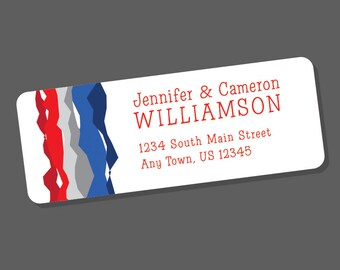 Personalized Address Labels - Red, White and Blue - Address Stickers - Patriotic, Custom Colors - 60 Return Address Labels - stripes