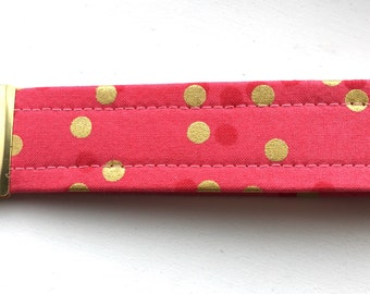 Ombré Hot Pink Gold  Dots Key Chain Wristlet Key Fob Gold Colored Hardware Unique Wristlet Key Fob Ombre Confetti Fabric