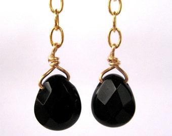 Black Teardrop Clip On Earrings, Gold Clip Earrings, Faceted Black Drop Pendant Earrings, Opaque Black Glass Clips, Handmade
