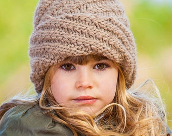 Knitted spiral beanie, womens chunky hat, girls knitted hat, warm childrens cap, baby swirl hat, knitted warm slouchy hat