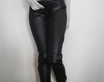 Black wet look slinky pants for 65-80cm BJD
