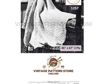 "1970s, cable afghan throw in 3 ply - 46"" x 67"" - Vintage PDF Knitting Pattern 1257"