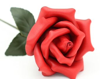 Red Leather Rose third Anniversary wedding gift Long Stem leather flower Valentine's Day 3rd Leather Anniversary Mother's Day