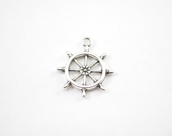 10pcs - Antique Silver Captains Wheel - Ships Wheel - 27mm x 23mm - Steering Wheel - Bracelet Charms - Bulk - Wholesale - B13