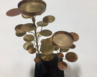 Vintage copper, brass and marble sculpture or candle holder in Curtis Jere tree style