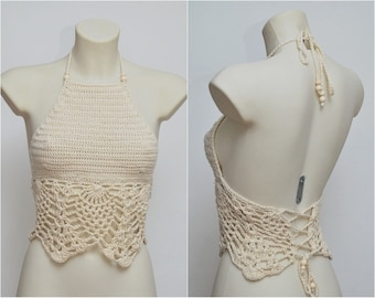 Long beige summer crochet top. Must have beach halter crop top, hippie style, retro style top, beach outfit, big bra size, colors to choose