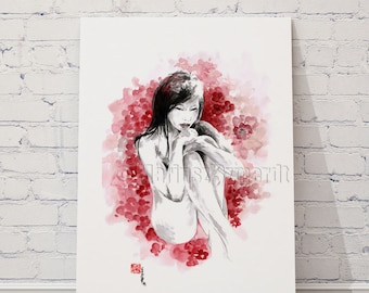 Woman Painting Naked Geisha Japanese Art Asian Girl with Cherry Blossoms Watercolor Art Print