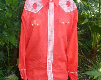 Vintage DeeCee RED Embroidered horses Western long sleeves pearl snap shirt by JeansVintageCloset
