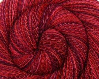 Handspun Yarn - INFERNO - Handpainted Rambouillet wool, 2 ply Lace weight, 678 yards
