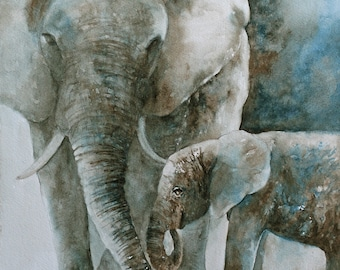 man gift for him for her watercolor painting elephant painting boy nursery art PRINT boy girl african wall art home decor wall hanging 11x14