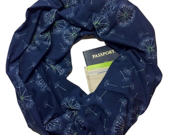 Tiny Dancer | Hidden Pocket Scarf | Infinity Scarf Passport Wallet Holder Travel Scarf Money Belt Navy Blue Travel Gift Secret Pocket Zipper