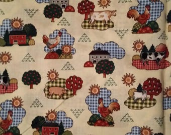 Roosters, Cows,Sheep Country Folk Art Fabric, Sold by the 1/2 yard