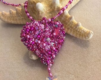 NEW KIT and Pattern Heart Tutorial Bead Embroidery Be Still My Heart Pendant Necklace reversible