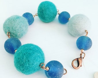 Roscoe Felt Bracelet - Aqua