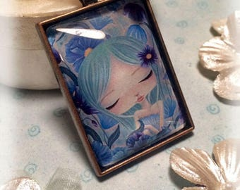 Girls Pendant Necklace, Blue Poppies, Jewelry for Girls, Gift for Girls, Art Pendant, Flower Girl Gift, Cute Jewelry, Girls Gift