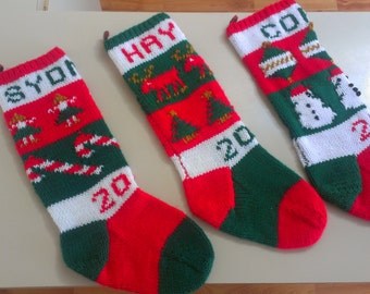 hand knit personalized decorative Christmas stockings