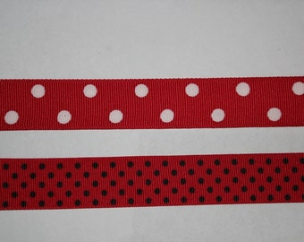 """16 YARDS 7/8"""" wide Red with white polkadots grosgrain ribbon  (In 2 Pieces)"""