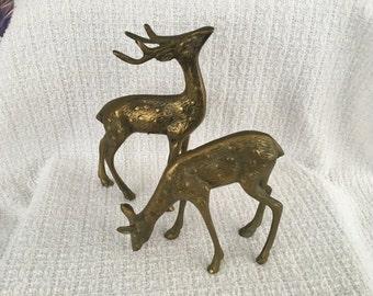 Olee Standing Brass Deer, Brass Deer, Brass Buck & Doe,  Set of 2, Decorative Brass Deer, Taiwan, 1970s, Brass Stag, Brass Doe, Olee Brass