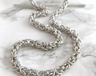 10 Year Anniversary Gift - Aluminum Anniversary Gift - Aluminum Chainmaille Necklace - 10th Anniversary - Wedding Anniversary