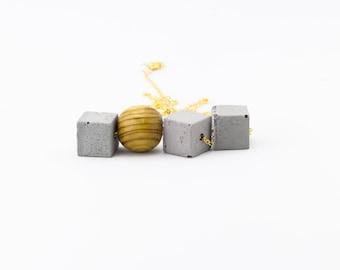 Concrete and Wooden Necklace, Concrete Necklace, Cube Cement Necklace, Wooden Necklace, Concrete Jewelry, Concrete Cube Necklace