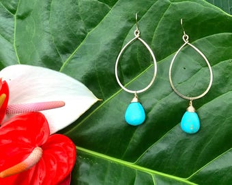 Turquoise and Gold fill Hoop Earrings