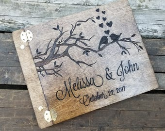 Wedding Guest book, Love birds wooden rustic guest book, custom personalized guest book, Wedding advice book, shower gift, 8.5x11 guestbook