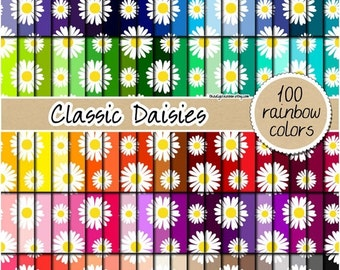 SALE 100 daisy digital paper flower digital paper daisy pattern rainbow floral scrapbook daisy clipart printable 12x12 pastel neutral bright