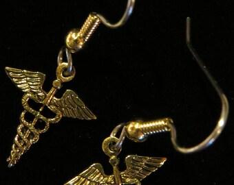 Medical Caduceus Earrings 24 Karat Gold Plate Doctor Practical Nurses LPN Physician RN Nurse Practitioner EG070G