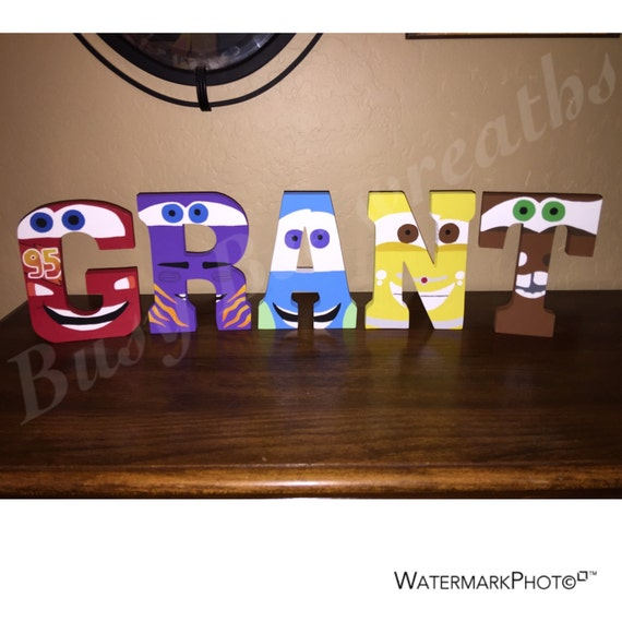 Hand Painted Cars Wooden Letters/Kids Room Decor/Disney