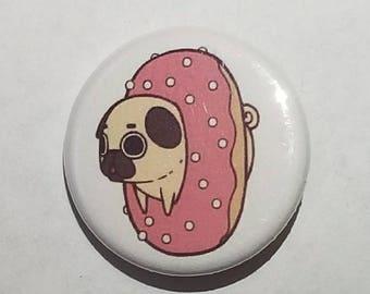 Cute Pug in a Donut Button Pin