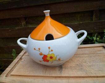 Soup tureen vintage floral soup tureen orange and yellow, year 70, German porcelain, porcelain of Bavaria