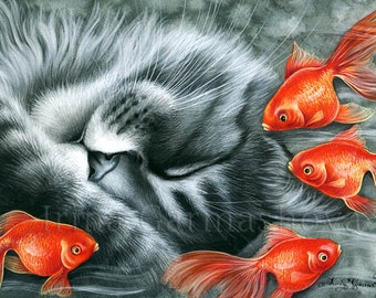 Tabby Cat Print Dreams In Colour by Irina Garmashova