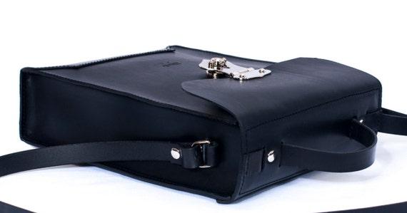 Black leather - Men Bag Ludena- Mens business bag - computer bag - leather messenger , handmade man briefcase - Leather Shoulder Bag Nature