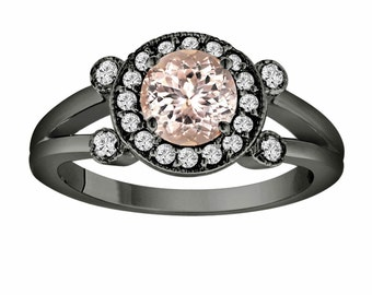 Pink Peach Morganite Engagement Ring 14K Black Gold Vintage Style 1.03 Carat With Side Diamonds Unique Halo Pave Handmade Certified