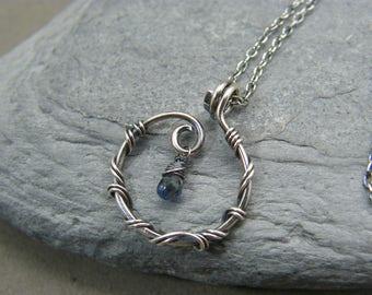 Birthstone necklace, September ~ Sapphire pendant, silver ~ Gift for her, September birthday ~ Blue sapphire ~ September birthstone ~